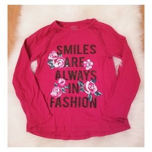 Girls Bright Pink long sleeve shirt with roses
